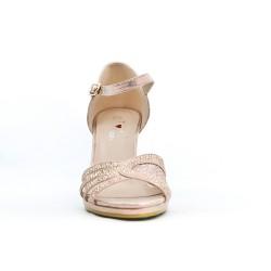 Sandalia de piel imitación rosa con tacón