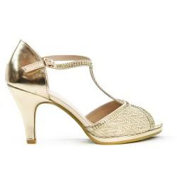 Sandale dorée à bride salomé