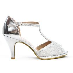 Sandale argent en à bride salomé