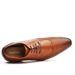 Cognac Derby Lace-up Flowered Toe