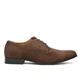 Brown derby in faux suede with lace