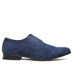 Blue derby in faux suede with lace