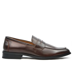 Derby marron en simili cuir sans lacet