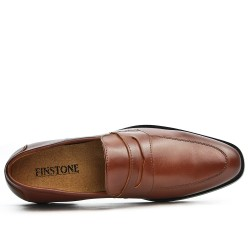 Derby cognac in faux leather without lace