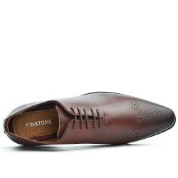 Brown Derby Lace-up Flowered Toe