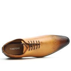 Tobacco Derby Lace-up Flowered Toe