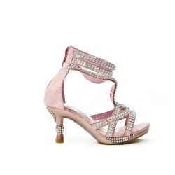 Pink sandal adorned with rhinestone heel for little girl