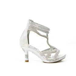 White sandal with rhinestones and heels for little girl
