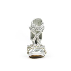 Sandale blanche ornée de strass à talon pour petite fille