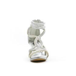 Sandale argent ornée de strass à talon pour petite fille