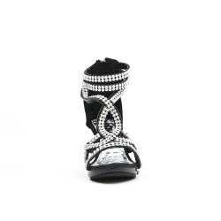 Black sandal adorned with rhinestone heels for little girl