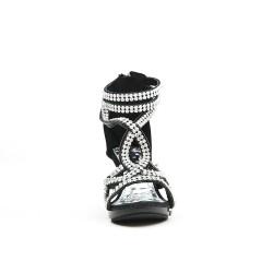Sandale noire ornée de strass à talon pour petite fille