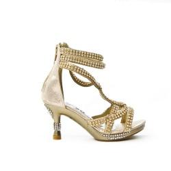 Sandale dorée ornée de strass à talon pour petite fille