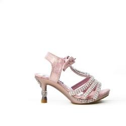 Sandalia rosa con diamantes de imitación para niña