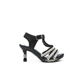 Black sandal with rhinestones for little girl