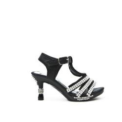 Sandalia negra con diamantes de imitación para niña