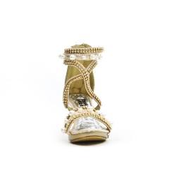Sandale dorée ornée de strass et perle à talon pour petite fille