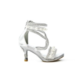 Silver sandal with rhinestones and bead with heel for little girl