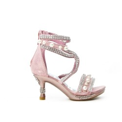 Pink sandal with rhinestones and beaded heel for little girl