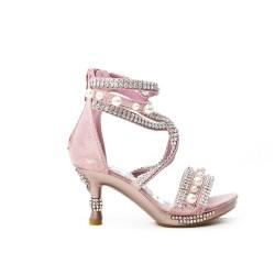 Sandale rose ornée de strass et perle à talon pour petite fille