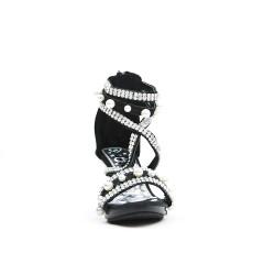 Sandale noire ornée de strass et perle à talon pour petite fille