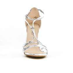 Silver flange sandal with high heel
