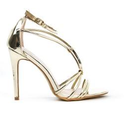Sandale dorée à bride avec talon haut