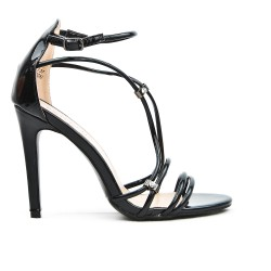 Black strap sandal with high heel