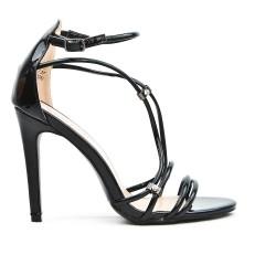 Sandale noire à bride avec talon haut