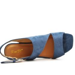 Sandale bleu à talon effet bois