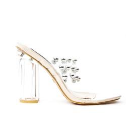 Pink sandal with transparent heel