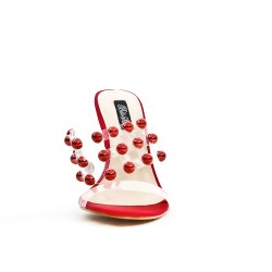 Red sandal with transparent heel