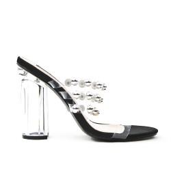 Black sandal with transparent heel