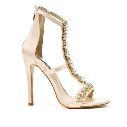Pink sandal with jeweled heel