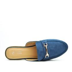 Mocassin ouvert bleu grande taille