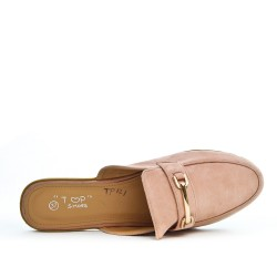 Mocassin ouvert rose grande taille