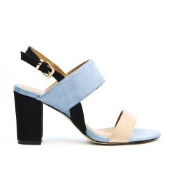 Sandale multicolore à talon