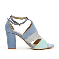 Sandale bleu à détail pailleté