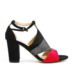 Sandale noire à détail pailleté