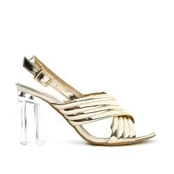 Sandale dorée en vernis à talon