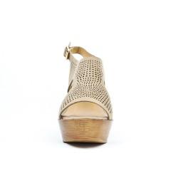 Sandale kaki perforée à talon compensé