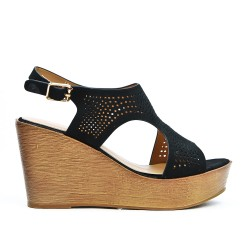 Sandale noire perforée à talon compensé