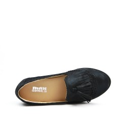 Black loafer with pompom
