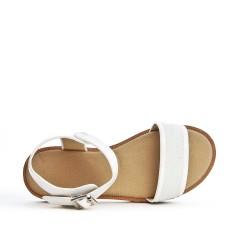 Sandale blanc enfant détail pailleté