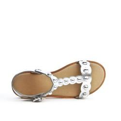 Sandale fille argent à bride salomé
