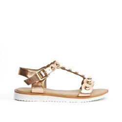 Sandale fille dorée à bride salomé