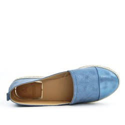 Blue imitation leather espadrille