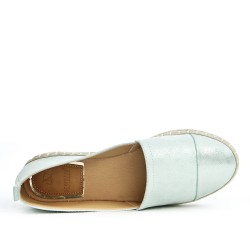 Green imitation leather espadrille