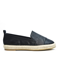 Black imitation leather espadrille