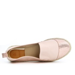 Pink imitation leather espadrille